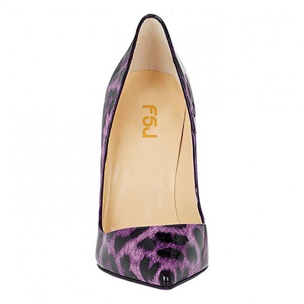 Purple Leopard Print Heels Patent Leather Pointy Toe Pumps by FSJ image 3