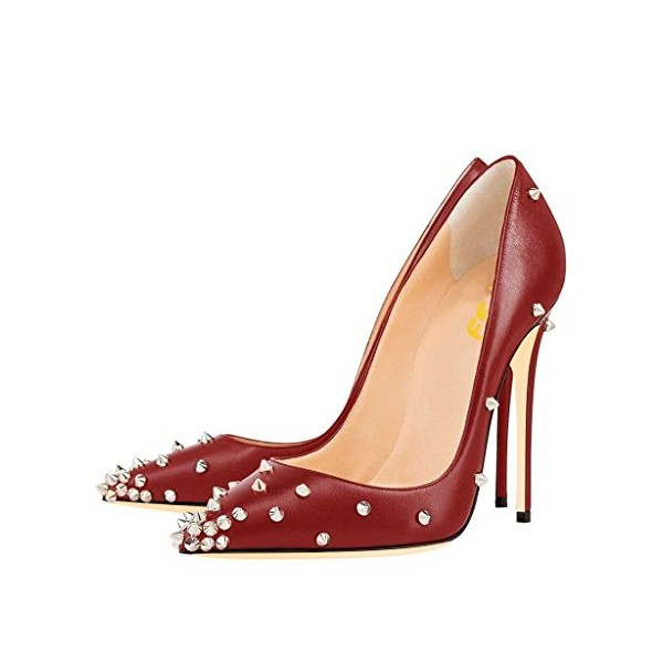 28c6cda96aec Burgundy Heels Pointy Toe Stiletto Heel Pumps Studs Shoes by FSJ image 1 ...