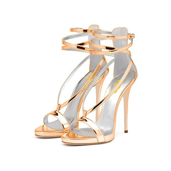 Women's Gold Strappy Stiletto Heels Open Toe Patent Leather Ankle Strap Sandals image 1