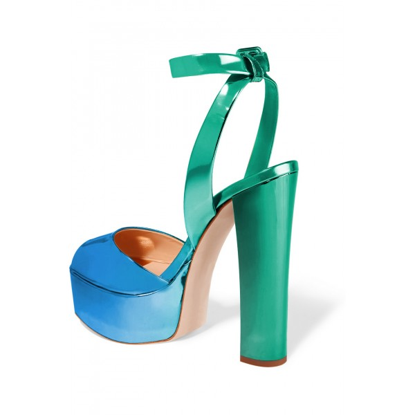 Green and Blue Chunky Heel Sandals Ankle Strap Heels Slingback Sandals image 4