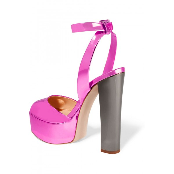 Hot Pink Block Heel Sandals Ankle Strap Peep Toe Shoes image 2