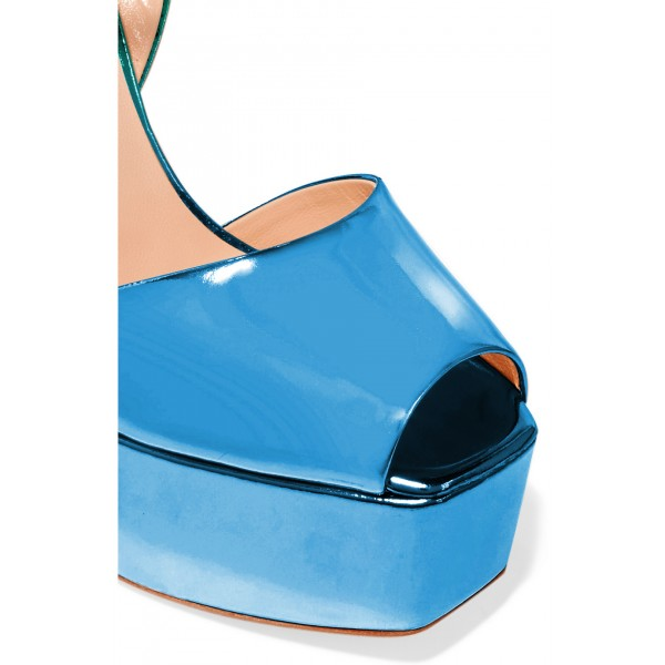 Women's Green and Blue Peep Toe Ankle Strap Sandals image 3