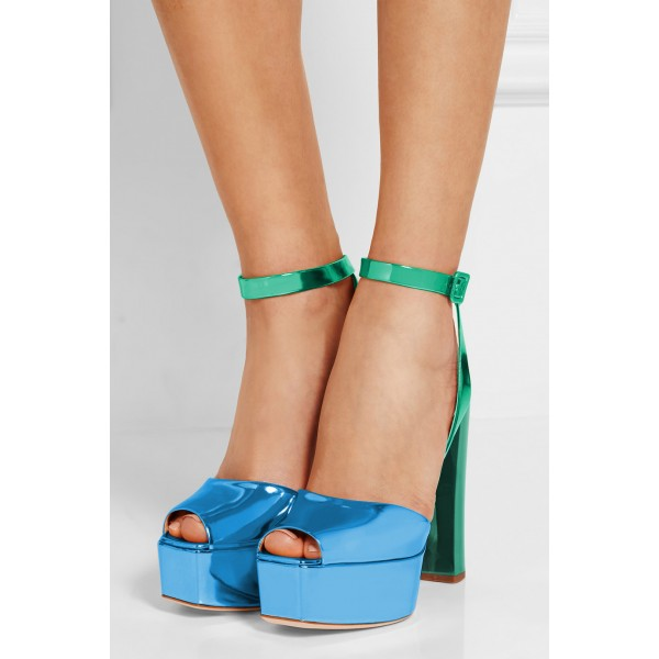 Green and Blue Chunky Heel Sandals Ankle Strap Heels Slingback Sandals image 2