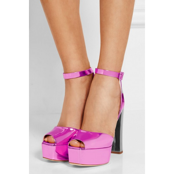 Hot Pink Block Heel Sandals Ankle Strap Peep Toe Shoes image 4