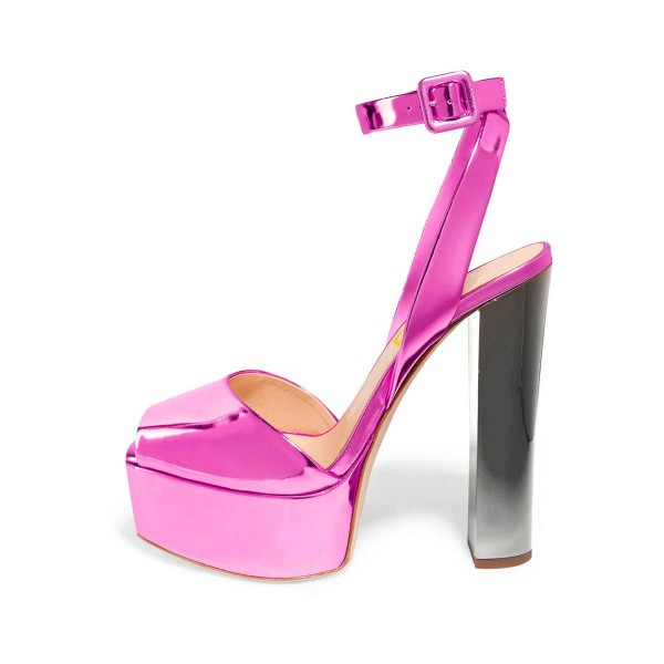 Hot Pink Block Heel Sandals Ankle Strap Peep Toe Shoes image 1
