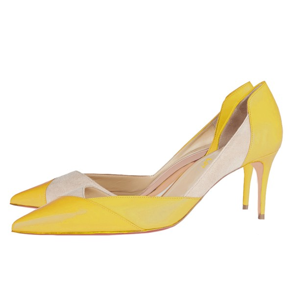 Yellow Kitten Heels Pointy Toe Dorsay Pumps for Ladies image 1