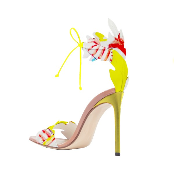 Yellow Stiletto Heels Lace up Sandals Open Toe Floral Heel Sandals image 3