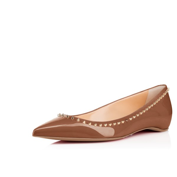 Brown Pointy Toe Flats Comfortable Shoes with Gold Rivets image 1