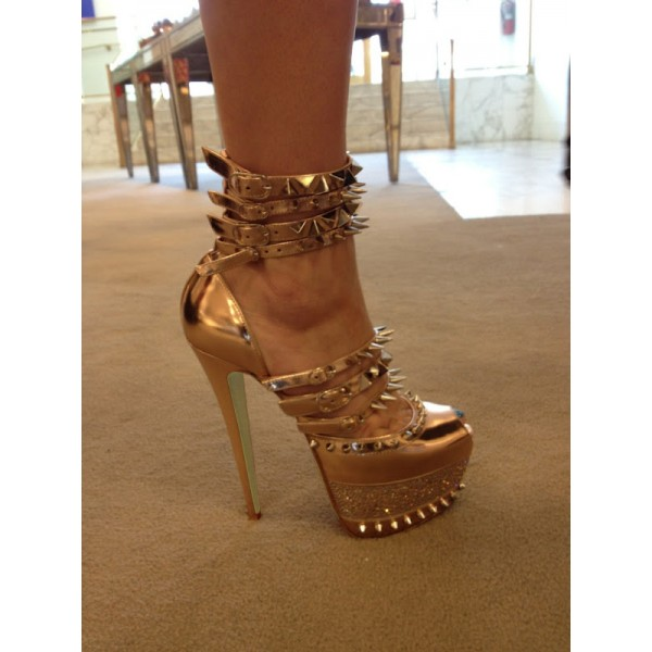 Gold Stripper Heels Metallic Peep Toe Platform Sexy Shoes with Rivets image 4