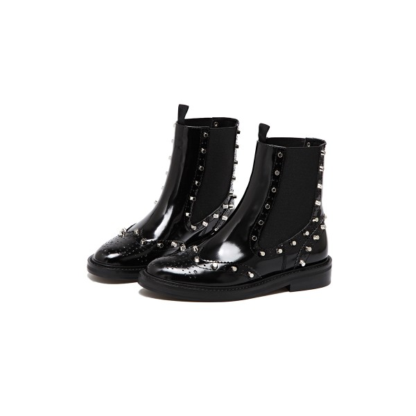 Black Wingtip Boots Patent Leather Round Toe Studs Chelsea Boots image 1