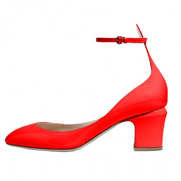 Red Round Toe Chunky Heels Ankle Strap Pumps for Ladies image 1