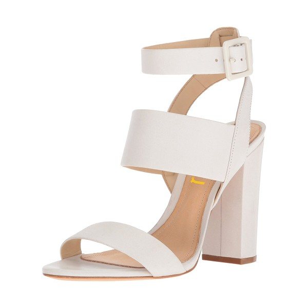 exclusive range online retailer exclusive range White Ankle Strap Sandals Chunky heels Slingback Sandals