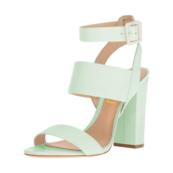 450b451585 Women's Mint Green Ankle Strap Slingback 4 Inches Chunky Heel Sandals image  ...