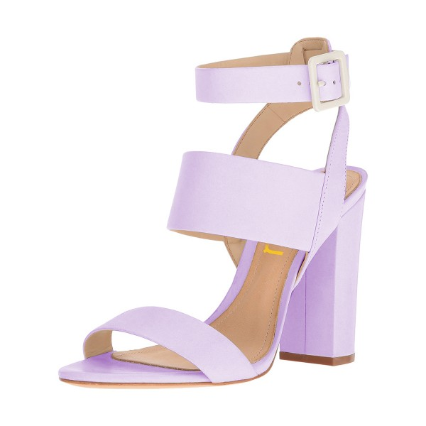 Purple Ankle Strap Slingback 4 Inches Chunky Heel Sandals image 1
