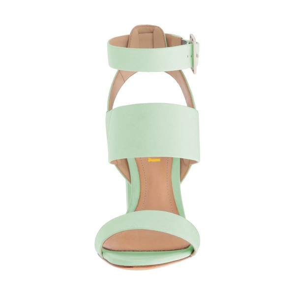 Women's Mint Green Ankle Strap Slingback 4 Inches Chunky Heel Sandals image 4