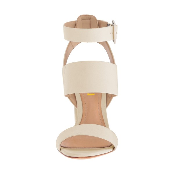 Ivory Ankle Strap Slingback 4 Inches Chunky Heel Sandals image 4