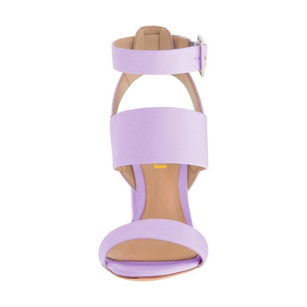 Purple Ankle Strap Slingback 4 Inches Chunky Heel Sandals image 2