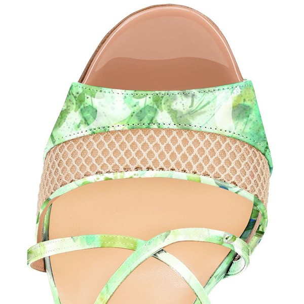Women's Green Floral Heels Cross Over Stiletto heel Sandals image 3