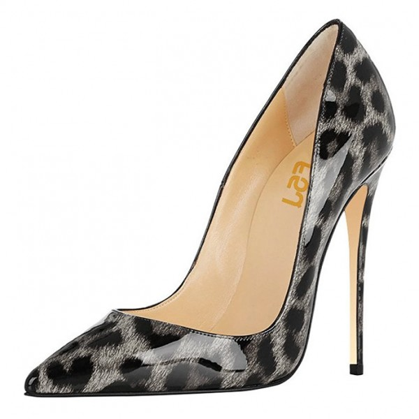 FSJ Grey Patent Leather Leopard Print Heels Pointy Toe Stiletto Heels image 1