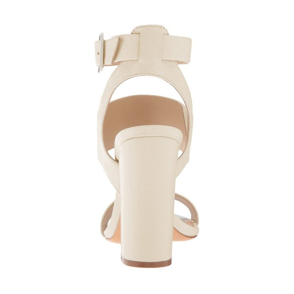 Ivory Ankle Strap Slingback 4 Inches Chunky Heel Sandals image 2