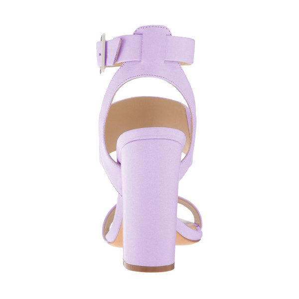 Purple Ankle Strap Slingback 4 Inches Chunky Heel Sandals image 3