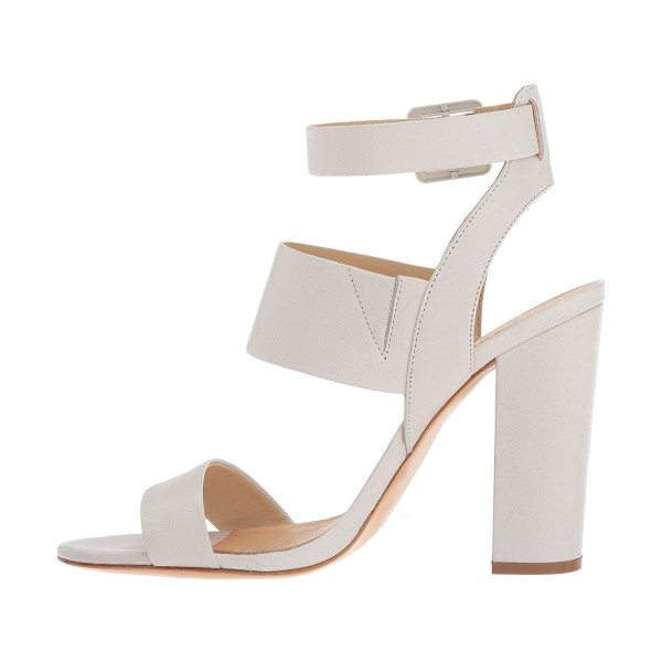 White Ankle Strap Sandals Chunky heels Slingback Sandals image 4