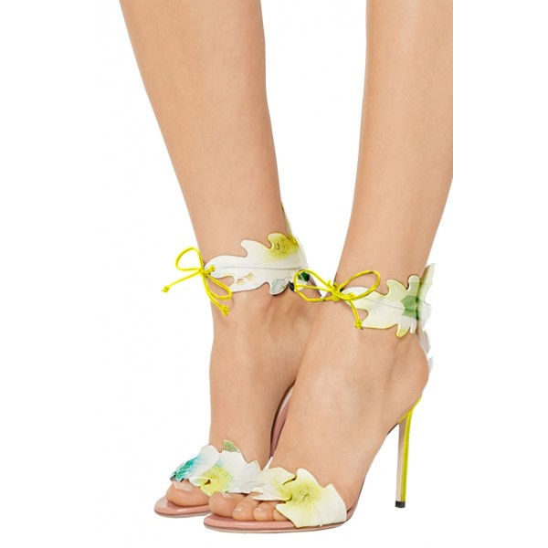 Lime Yellow Leaves Floral Heels Open Toe Tie up Stiletto Heels Sandals image 1