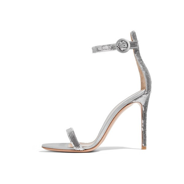 Silver Sequined Ankle Strap Sandals Open Toe Stiletto Heels image 1