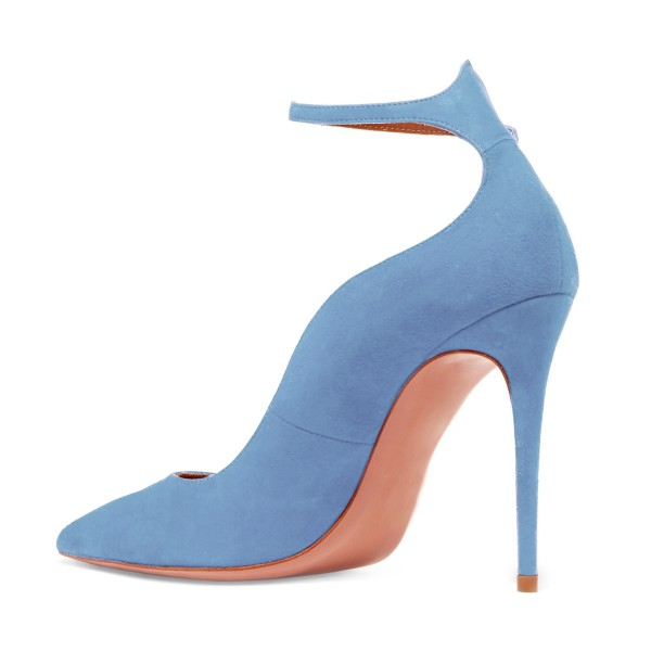 Women's Light Blue Suede Ankle Strap Heels Stiletto Heel Pumps image 2