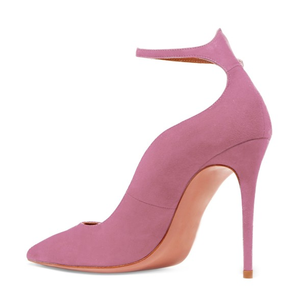 Women's Plum Suede Pointy Toe Ankle Strap Heels Stiletto heel Pumps image 2