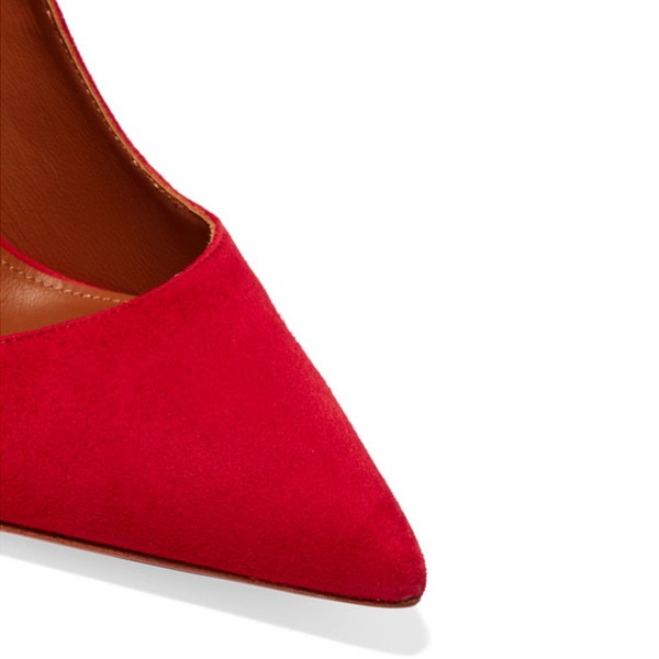 Women's Red Suede Ankle Strap Heels Stiletto Heel Pumps image 3