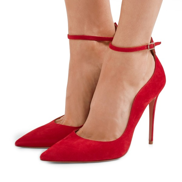 Women's Red Suede Ankle Strap Heels Stiletto Heel Pumps image 1