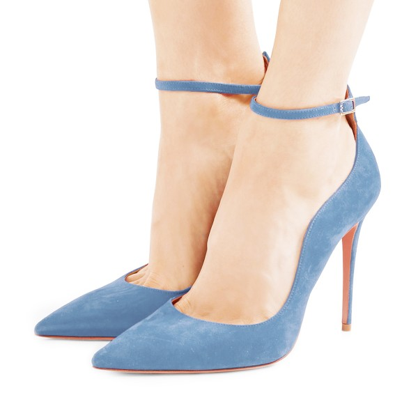 Women's Light Blue Suede Ankle Strap Heels Stiletto Heel Pumps image 1