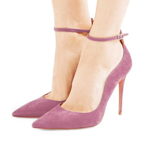 Women's Plum Suede Pointy Toe Ankle Strap Heels Stiletto heel Pumps image 1