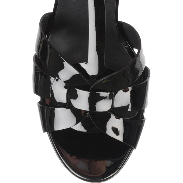 Black Patent Leather T Strap Sandals Peep Toe Platform Chunky Heels   image 2