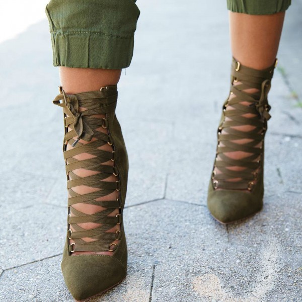 Olive Green Ankle Booties Suede Stiletto Heels Lace up Boots image 2