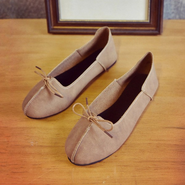 Women's Light Brown Simple Bow Comfortable Flats  image 1