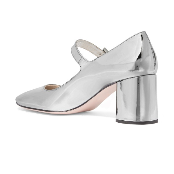 Silver Mirror Mary Jane Pumps Square Toe Block Heels Shoes by FSJ image 4