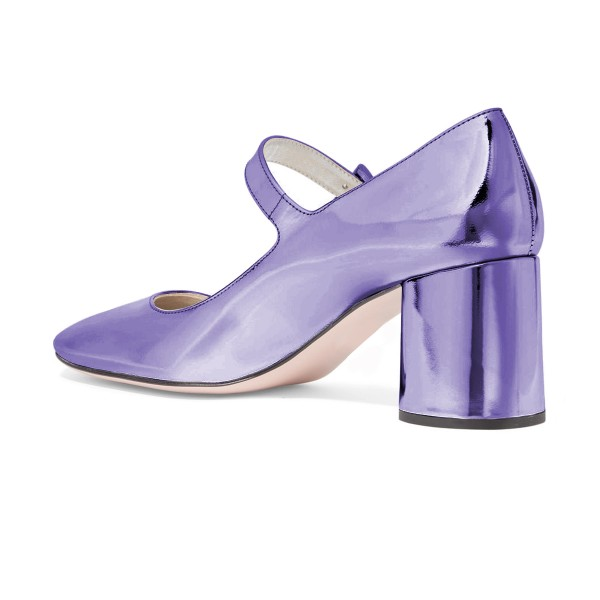 Women's Purple Mary Jane Pumps Square Toe Chunky Heels by FSJ image 2