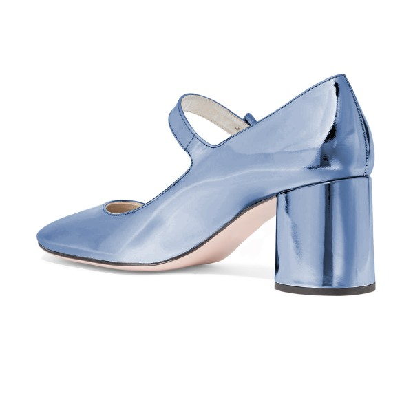 Women's Light Blue Mary Jane Pumps  Square Toe Chunky Heels Shoes  image 3