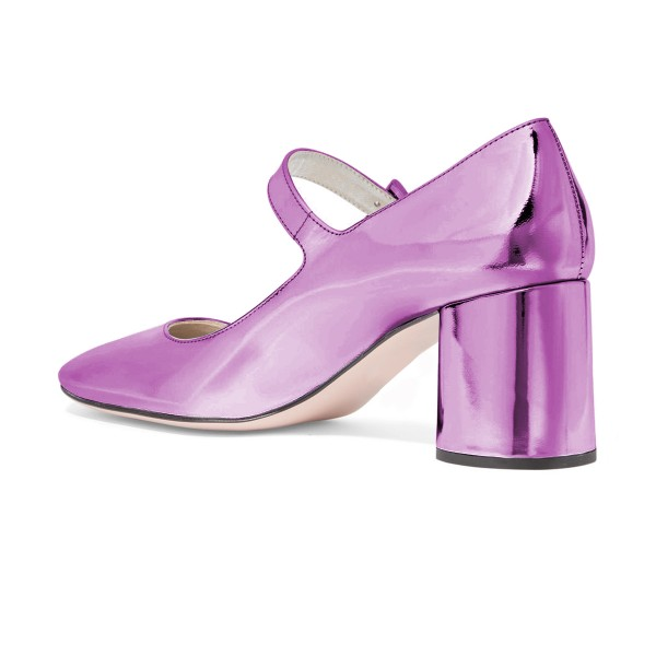 Women's Fashion Violet Mary Jane Pumps Square Toe Chunky Heels Shoes image 2