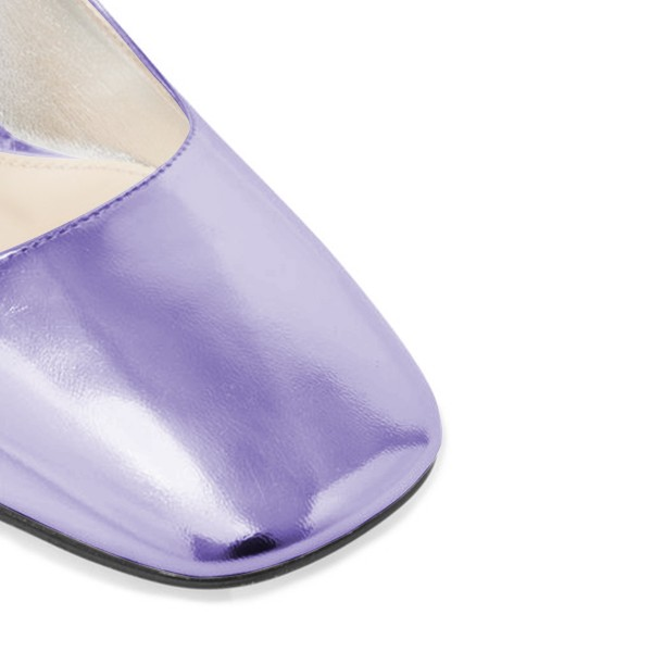 Women's Purple Mary Jane Pumps Square Toe Chunky Heels by FSJ image 3