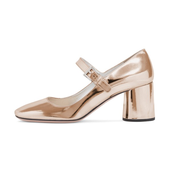 Women's Champagne Mary Jane Pumps Square Toe Chunky Heels Shoes image 4