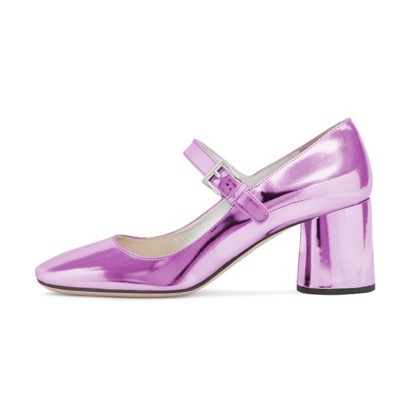 Women's Fashion Violet Mary Jane Pumps Square Toe Chunky Heels Shoes image 4