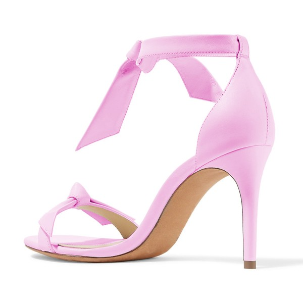 Women's Pink Bow Stiletto Heel Ankle Strap Sandals image 2