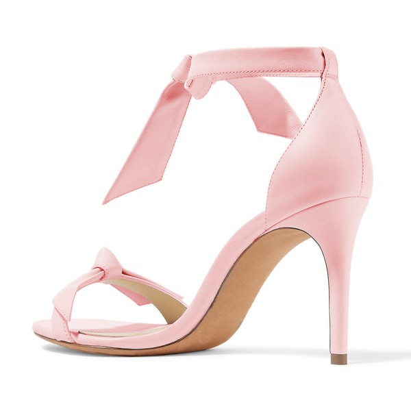 Women's Light Pink Bow Stiletto Heel Ankle Strap Sandals image 3