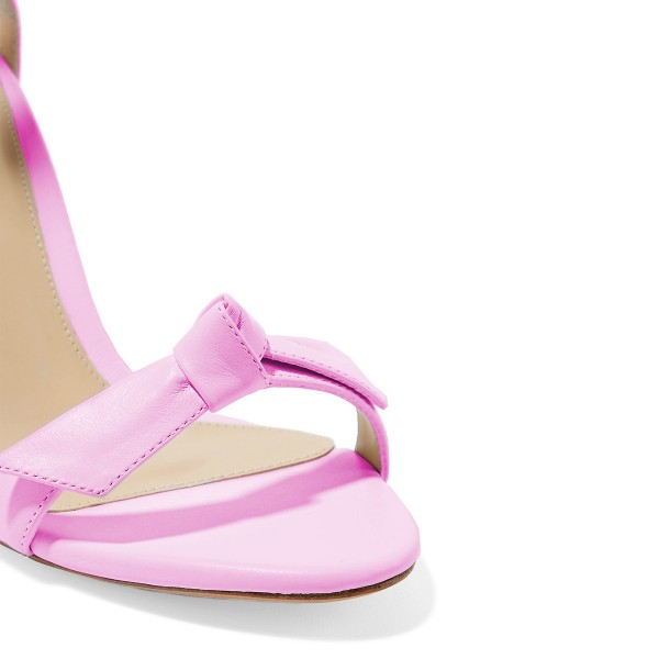 Women's Pink Bow Stiletto Heel Ankle Strap Sandals image 3