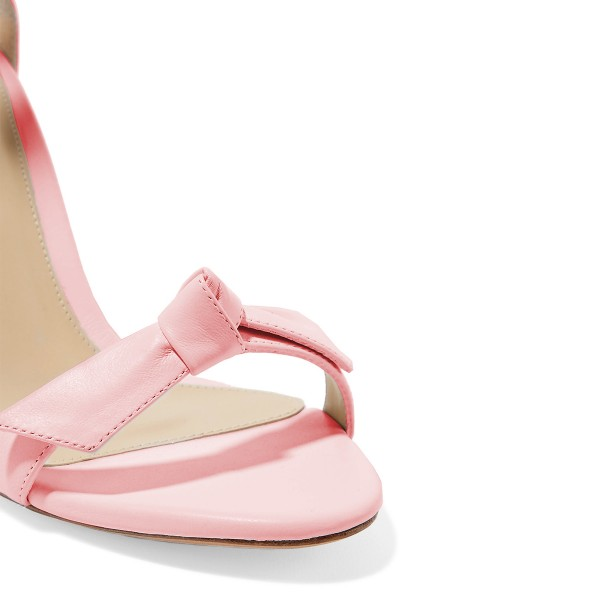 Women's Light Pink Bow Stiletto Heel Ankle Strap Sandals image 2