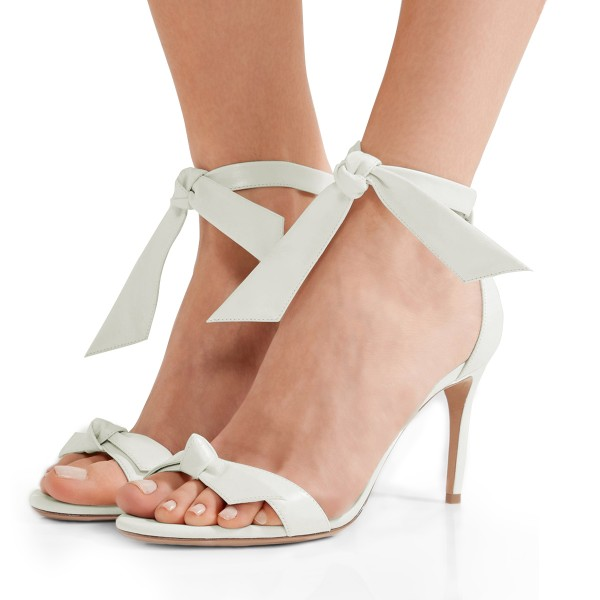 White Bow Stiletto Heel Ankle Strap Sandals for Women image 1