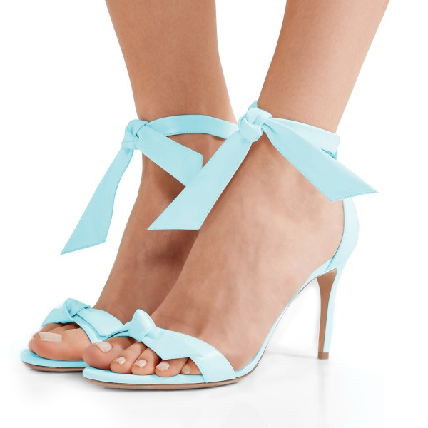 Light Blue Bow Heels Open Toe Tie Up Stiletto Heel Office